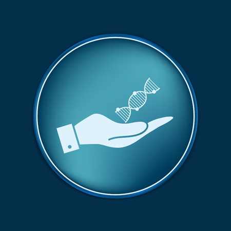 medical symbol: hand holding a DNA helix. Medical Research character. Symbol of medicine. Icon Biology and Genetics Illustration