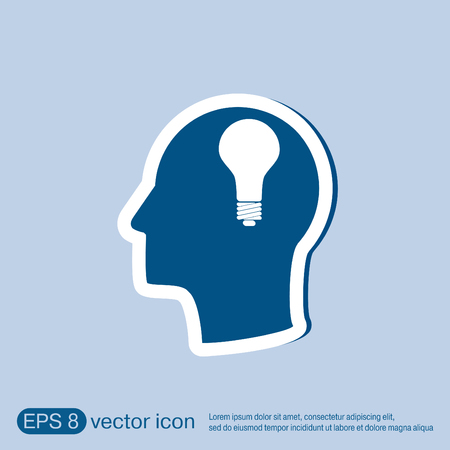 incandescent: Idea head, Vector Icon head think silhoutte vector man and his mind about  lightbulb sign. character ideas. incandescent lamp . icon of electric light