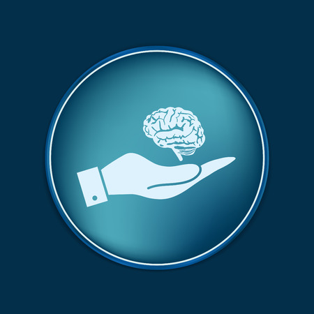 nerve message: hand holding a Brain.  Mind and science