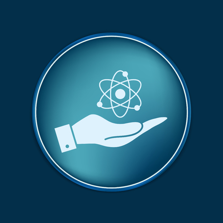 adults learning: hand holding the atom, molecule. the symbol of physics and chemistry. symbol icon of physics or chemistry . the study of science Illustration