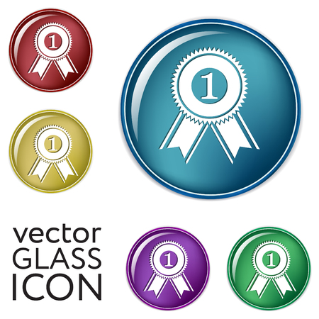 victory: first place ribbon rosette icon. victory icon