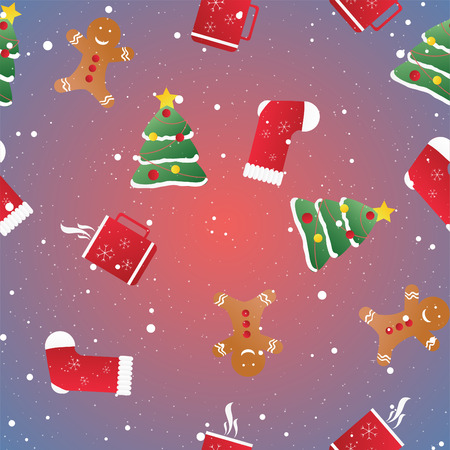 new year's cap: New year seamless pattern. Endless Christmas template. Use as a pattern fill. Illustration