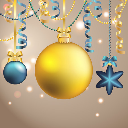 weihnachten: New Year greeting card. Christmas Ball with bow and ribbon. Xmas Decorations. Sparkles and bokeh. Shiny and glowing