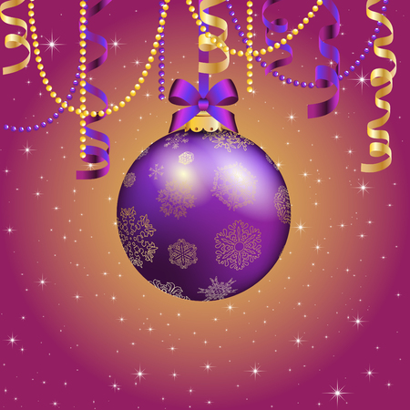 color balls: New Year greeting card. Christmas Ball with bow and ribbon. Xmas Decorations. Sparkles and bokeh. Shiny and glowing