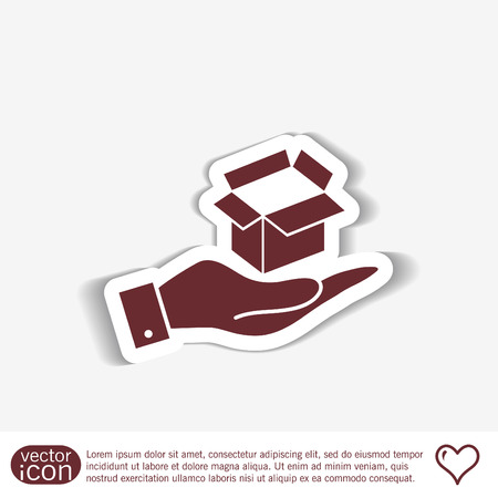 paper delivery person: hand holding a Opened cardboard box Illustration