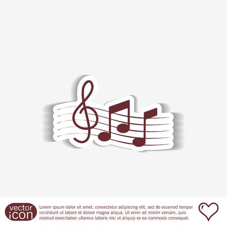 key signature: Musical notes and treble clef. Symbol muzykiki. Icon art and musicality