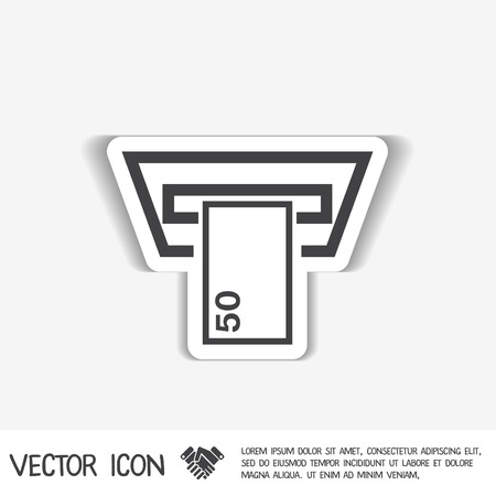 automatic transaction machine: money ATM. symbol issuing or receiving money from an ATM. financial icon. money is given. Vectores