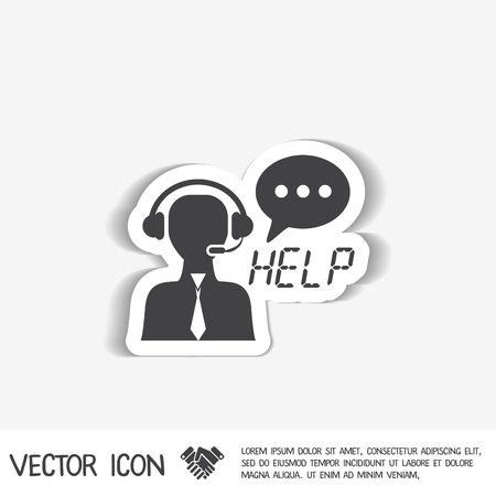 support phone operator in headset: customer support avatar Illustration