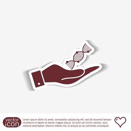 mano que sostiene una hélice del ADN. Carácter de Investigación Médica. Símbolo de la medicina. Icono Biología y genética