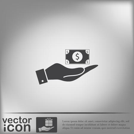 bank bill: hand holding a Dollar bill. symbol of money