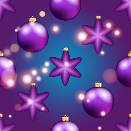 weihnachten: New Year pattern with Christmas ball. Christmas wallpaper with bow and ribbon. Sparkles and bokeh. Shiny and glowing Illustration