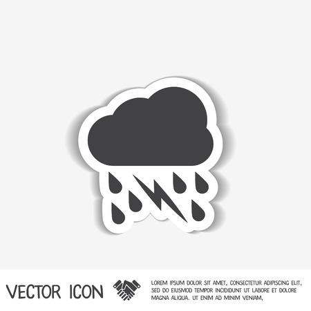 meteo: icona del tempo. nuvola di pioggia fulmini segno Vettoriali