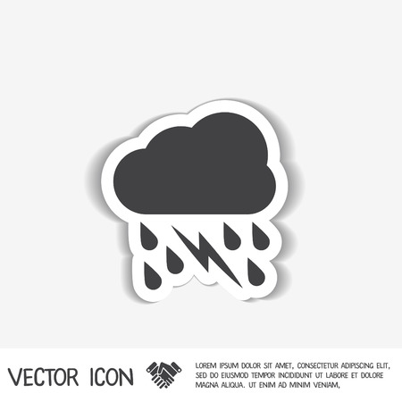 weather icon. cloud rain lightning sign Illustration