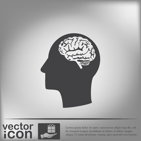psychology: Vector Icon head with brain.  Mind and science Illustration
