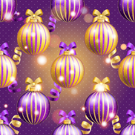 christmas wallpaper: New Year pattern with Christmas ball. Christmas wallpaper with bow and ribbon. Sparkles and bokeh. Shiny and glowing Illustration