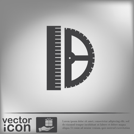 ruler and protractor. characters geometry. Education sign. symbol icon drawing and geometry Illustration
