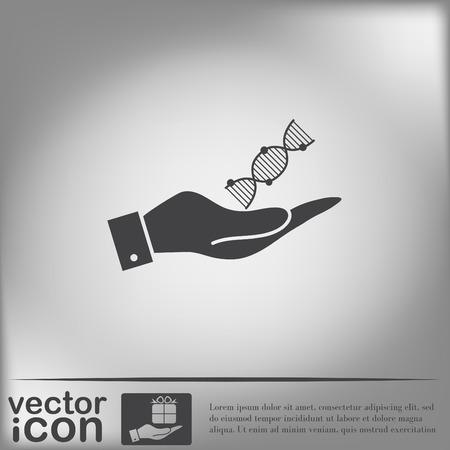 mano que sostiene una hélice de ADN. Personaje de Investigación Médica. Símbolo de la medicina. Icono de Biología y Genética