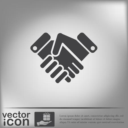 hand shake: dar la mano icono, apretón de manos. símbolo de negocios y finanzas