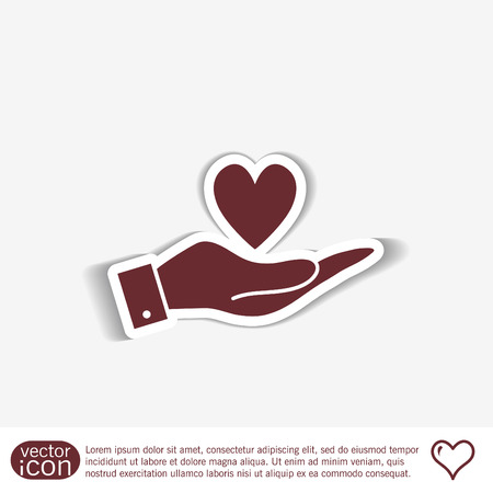 hand holding sign: hand holding a heart sign.  valentine icon