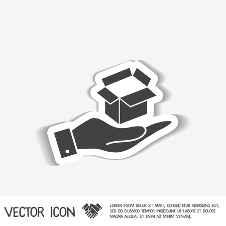 package sending: hand holding a Opened cardboard box Illustration