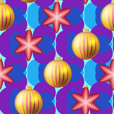 weihnachten: Christmas ball pattern, New year decorations. vector. Wallpaper with bow and ribbon. Sparkles and bokeh. Shiny and glowing Illustration