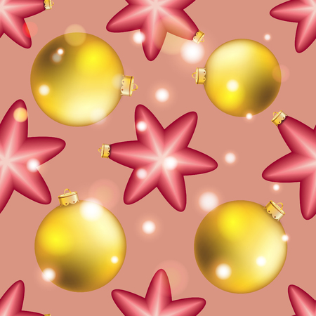 christmas wallpaper: Christmas ball pattern, New year decorations. vector. Wallpaper with bow and ribbon. Sparkles and bokeh. Shiny and glowing Illustration