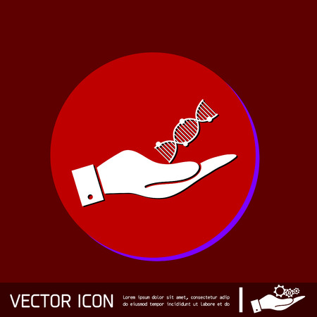 hand holding a DNA helix. Medical Research character. Symbol of medicine. Icon Biology and Genetics Vectores
