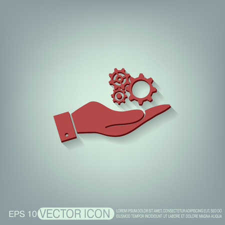 gear icon: hand holding a cogwheel, icon setting and repair