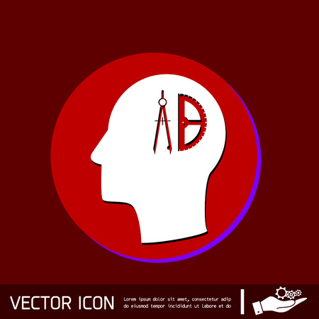 floorplan: Vector Icon head think silhoutte vector man and his mind about the compass and protractor. characters geometry. Education sign. symbol icon drawing and geometry