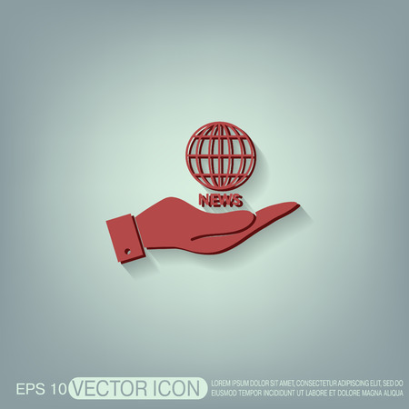 globe  the terrestrial ball: hand holding a globe symbol. news. Symbol news. Icon globe planet Illustration