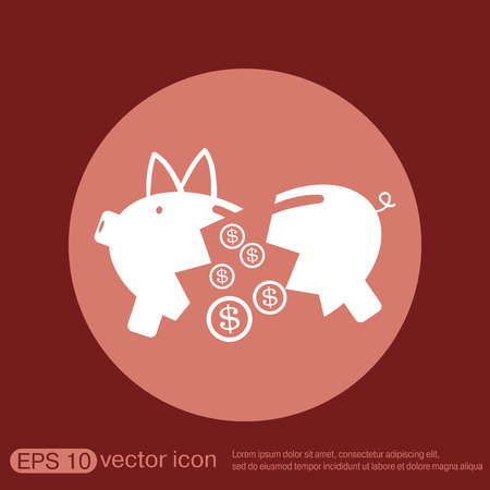 piggy bank money: broken piggy Bank icon Illustration