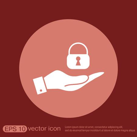 thumb keys: hand holding a padlock symbol Illustration