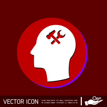 hammer head: Vector Icon head think silhoutte vector man and his mind about  symbol settings sign, hammer and wrench