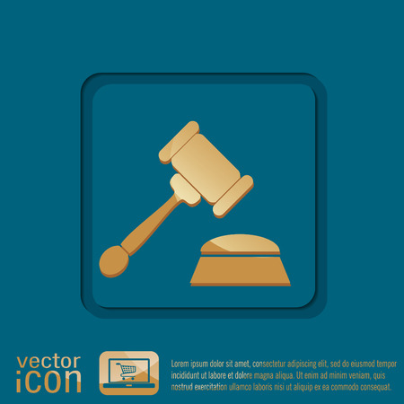 verdicts: gavel. icon law. symbol of justice and judgment