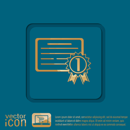 institute: diploma for the first place. Education sign, symbol icon college or institute. graduation