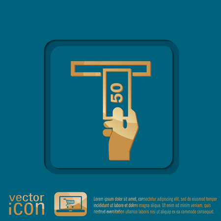 issuing: money ATM. symbol issuing or receiving money from an ATM. financial icon. money is given. Illustration