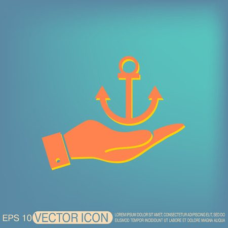 marine industry: hand holding a Nautical Anchor vector. anchor seafaring character. icon marine instrument