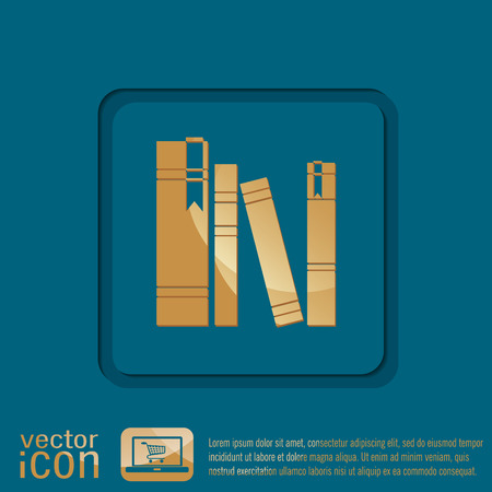 spines: book spine, spines of books. icon symbol of a science and literature Illustration