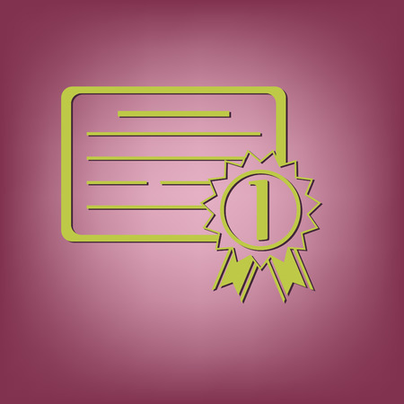 qualify: diploma for the first place. Education sign, symbol icon college or institute. graduation