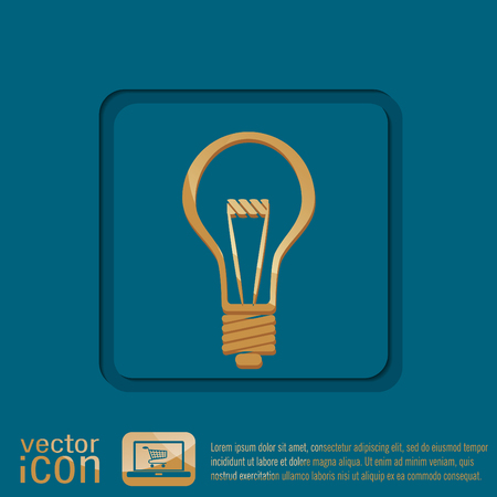 electric light: lightbulb sign. character ideas. incandescent lamp . icon of electric light