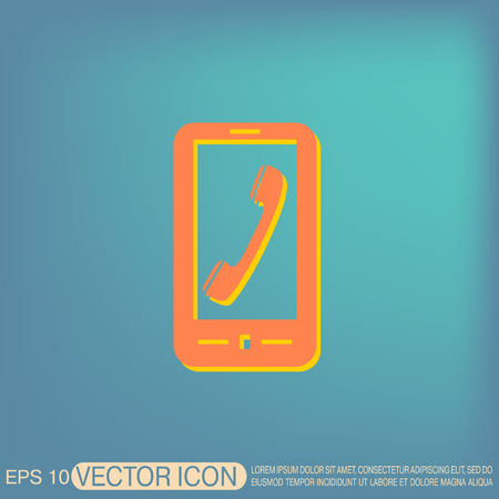 handset: smartphone with the symbol telephone handset Illustration