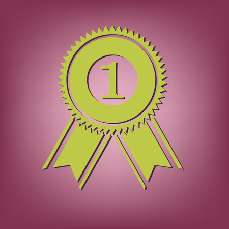 rosette: first place ribbon rosette icon. victory icon