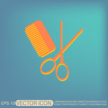 comb hair: comb and scissors. barbershop. symbol of hair and beauty salon Illustration