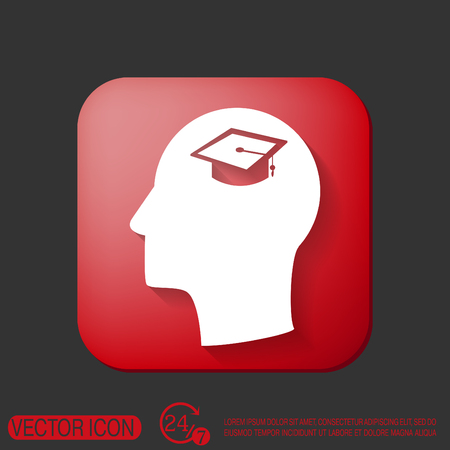 institute: Vector Icon head think silhoutte vector man and his mind about  graduate hat sign. Education sign. symbol icon college or institute. graduation