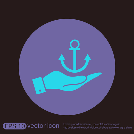 anchored: hand holding a Nautical Anchor vector. anchor seafaring character. icon marine instrument