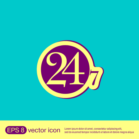 open day: 24 7 icon. open 24 hours a day and 7 days a week icons