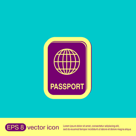 emigration and immigration: international passport icon. Symbol of travel . Icon personal document