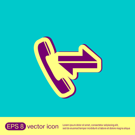 incoming: incoming and outgoing call. symbol of the incoming call. Handset rings Illustration