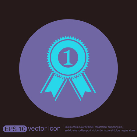 to place: first place ribbon rosette icon. victory icon
