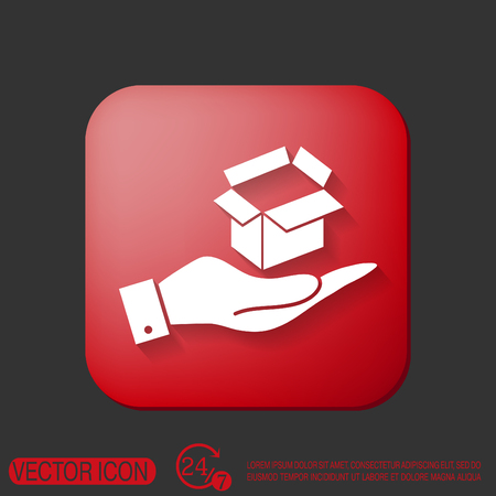 hand holding a Opened cardboard box Illustration